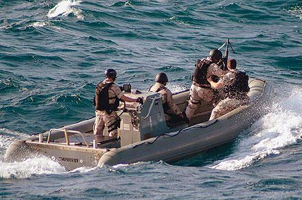 US Navy RIB intercepts a suspected pirate boat.