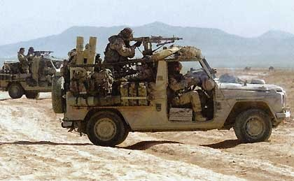 "German Kommando Spezial Kraefte soldiers with their ""Serval"" Ground Mobility Vehicles in Afghanistan"