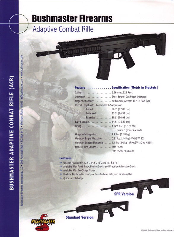 bushmaster acr enhanced. Bushmaster ACR brochure cover