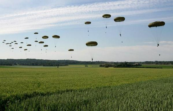 Paratroopers re-enact part of the bloody Allied landings of D-Day