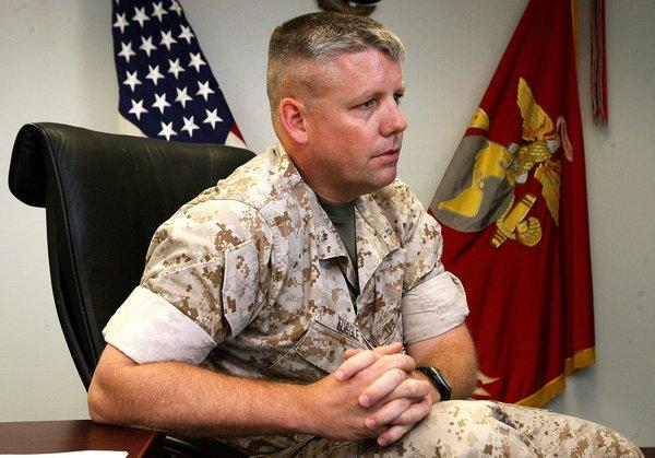 Lt. Col. Jeffrey Tuggle, Commanding Officer with the 1st Marine Special Operations Battalion, talked about the unit's duties during an interview at Camp Pendelton.(Photo by Don Boomer - Staff Photographer)