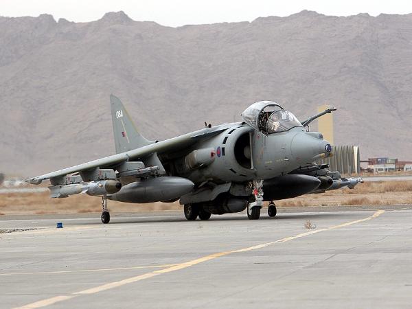 A Harrier GR.9 returns from a sortie over Helmland.