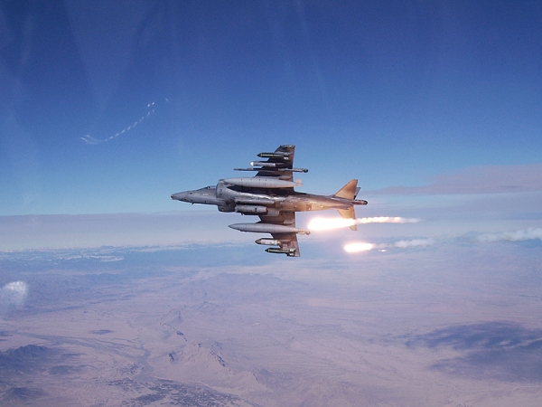 Harrier GR9 from Naval Strike Wing releasing flares whilst on operations in Afghanistan.